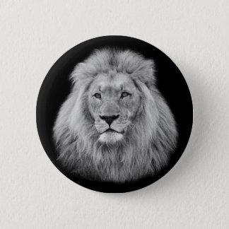 Majestic male lion black and white photo pinback button