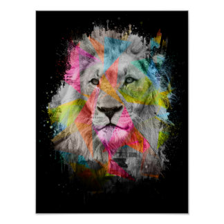 Majestic male lion black and white photo poster