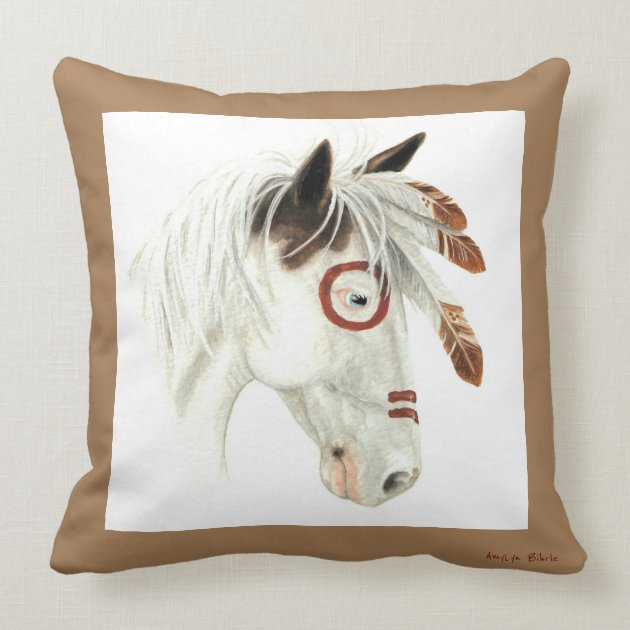 Majestic Medicine Hat Pony Horse Art By Bihrle Throw Pillow Zazzle Com