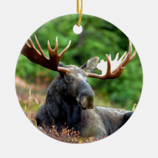 Majestic Moose Meadow Double-Sided Ceramic Round Christmas Ornament