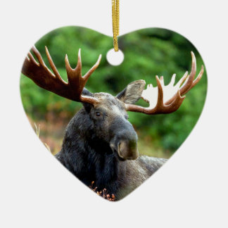 Majestic Moose Meadow Double-Sided Heart Ceramic Christmas Ornament