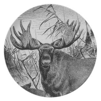 Majestic Moose Melamine Plate