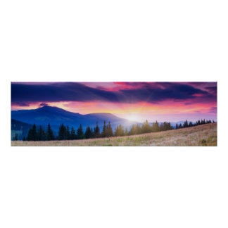 Majestic mountains landscape under morning sky poster