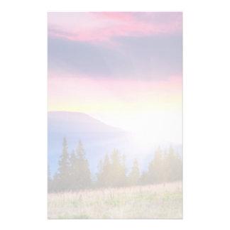 Majestic mountains landscape under morning sky stationery