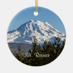 Majestic Mt. Rainier Double-Sided Ceramic Round Christmas Ornament