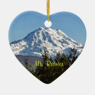 Majestic Mt. Rainier Double-Sided Heart Ceramic Christmas Ornament