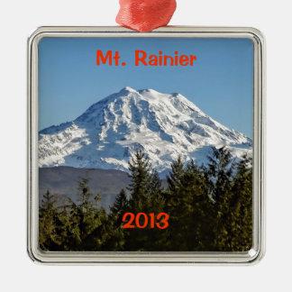 Majestic Mt. Rainier Square Metal Christmas Ornament