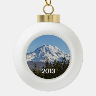 Majestic Mt. Rainier Ceramic Ball Christmas Ornament