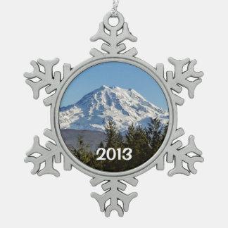 Majestic Mt. Rainier Snowflake Pewter Christmas Ornament