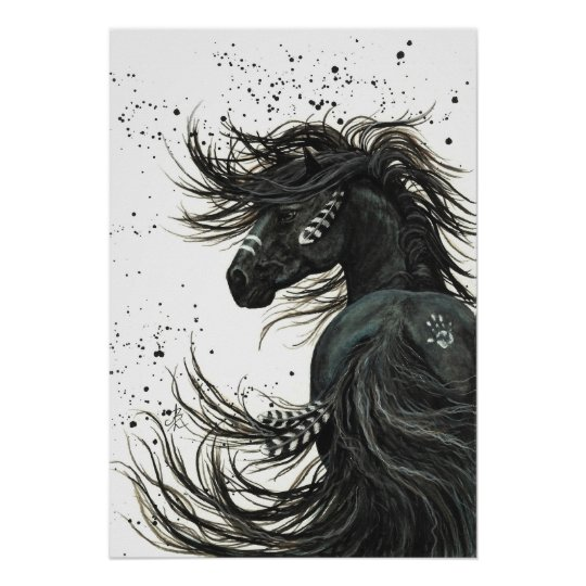 Majestic Mustang By Bihrle Black Horse Poster Zazzle Com