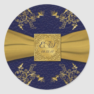 "Majestic Navy and Gold 1.5"" Diameter Round Sticker"
