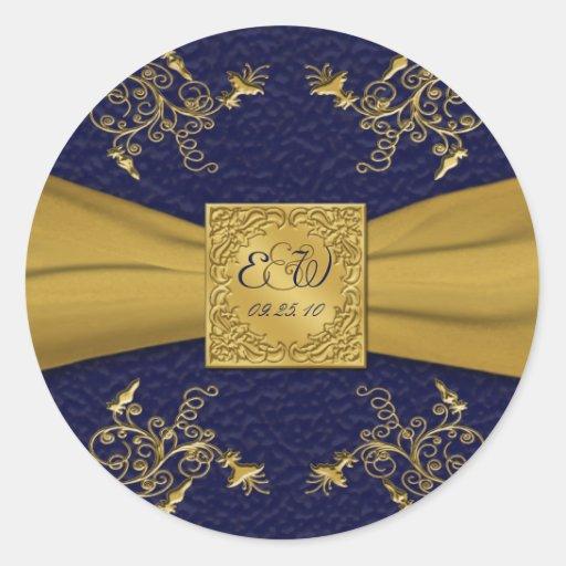 "Majestic Navy and Gold 1.5"" Diameter Round Sticker"