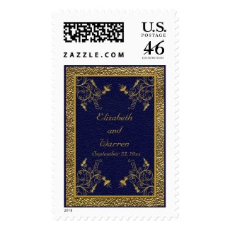 Majestic Navy and Gold Postage stamp