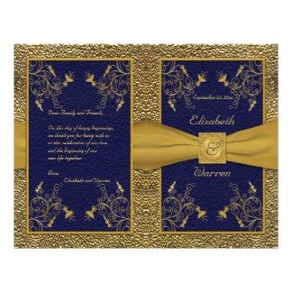 Majestic Navy and Gold Wedding Program