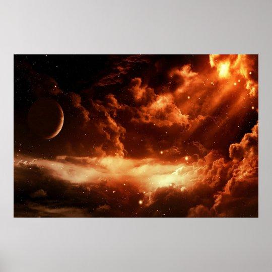 Majestic Orange Space poster