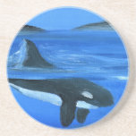 Majestic orca whale beverage coaster