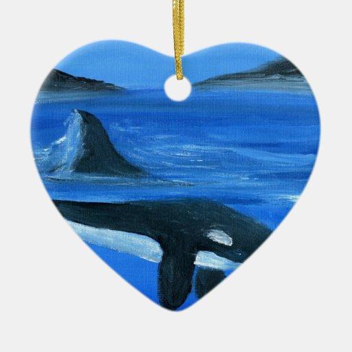 Majestic orca whale ceramic ornament