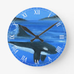 Majestic orca whale clocks