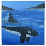 Majestic orca whale cloth napkins
