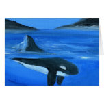 Majestic orca whale greeting card