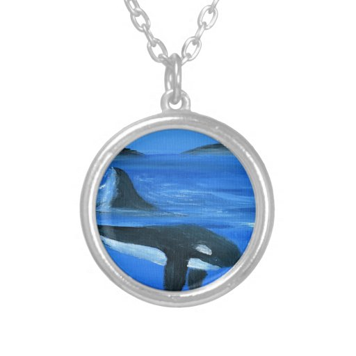 Majestic orca whale round pendant necklace