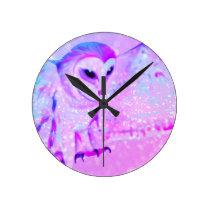 Majestic Owl Round Clock