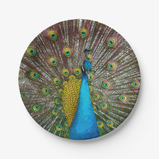 Majestic Peacock Bird with Royal Plumage Paper Plate