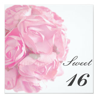 Majestic Pink Roses Sweet Sixteen Birthday Party Card