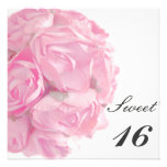 Majestic Pink Roses Sweet Sixteen Birthday Party Custom Invitations