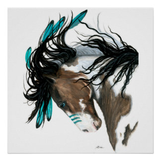 Majestic Pinto Paint Horse Poster by Bihrle