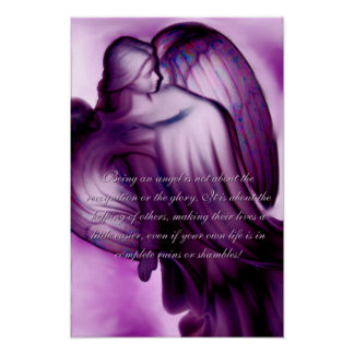 Majestic Purple Angel With Saying Canvas Print