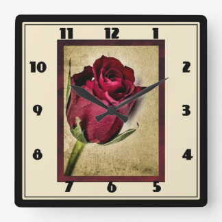Majestic Red Roses on Brownish Background Square Wallclock