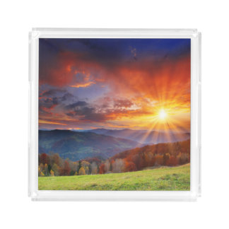 Majestic sunrise in the mountains landscape square serving trays
