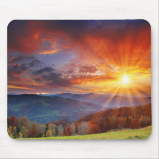 Majestic sunrise in the mountains landscape mouse pad