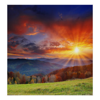 Majestic sunrise in the mountains landscape poster