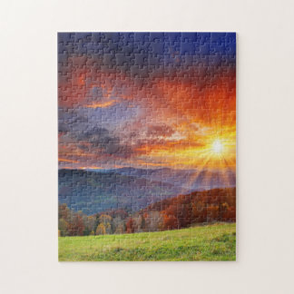 Majestic sunrise in the mountains landscape jigsaw puzzles