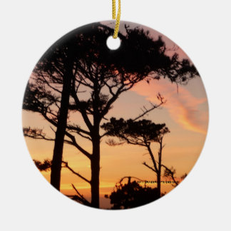 Majestic Sunset Double-Sided Ceramic Round Christmas Ornament