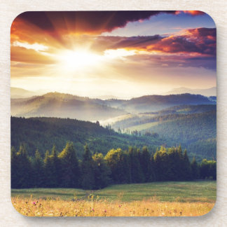 Majestic sunset in the mountains landscape 4 drink coaster