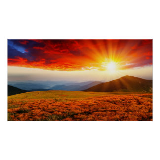 Majestic sunset in the mountains landscape 5 poster
