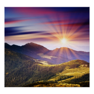 Majestic sunset in the mountains landscape 6 poster