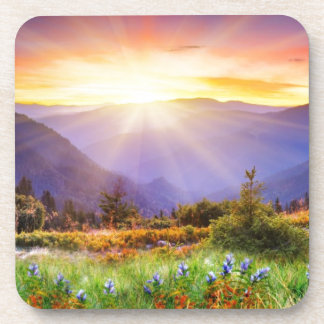 Majestic sunset in the mountains landscape drink coasters