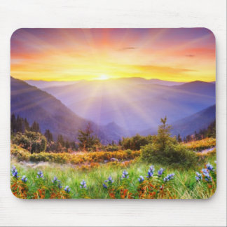 Majestic sunset in the mountains landscape mouse pad