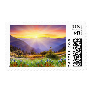 Majestic sunset in the mountains landscape postage