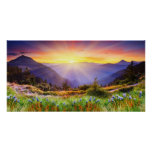 Majestic sunset in the mountains landscape posters