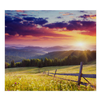 Majestic sunset in the mountains poster