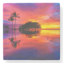 Majestic Sunset | Wailea Beach, Maui, Hawaii Stone Coaster