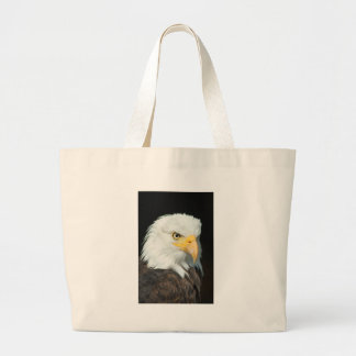 Majestic white and brown Bald Eagle posing Large Tote Bag