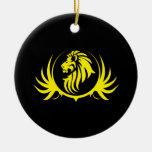 Majestic Yellow Lion Head Christmas Ornaments