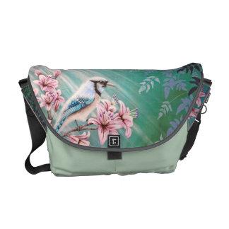 Majesty Blue Jay Bird Handbag Messenger Bag