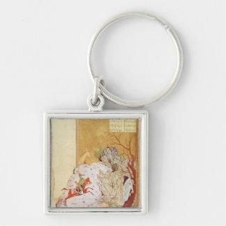 Majnun in the Desert Silver-Colored Square Keychain